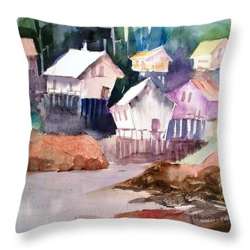Waterfront Cabins Throw Pillow by Larry Hamilton