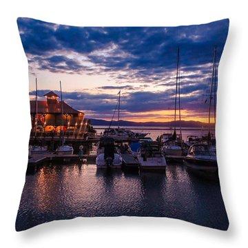 Waterfront Summer Sunset Throw Pillow