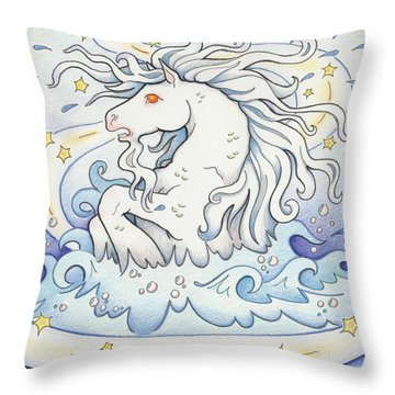 Waterhorse Emerges Throw Pillow by Amy S Turner
