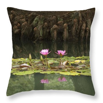 Waterlilies And Cyprus Knees Throw Pillow