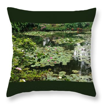 Throw Pillow featuring the photograph Waterlilies At Monet's Gardens Giverny by Therese Alcorn