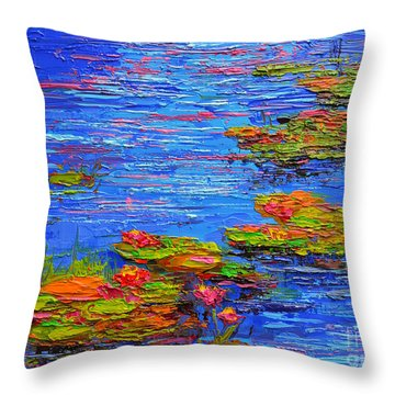 Throw Pillow featuring the painting Waterlily Pond - Lily Pads In A Morning Light - Modern Impressionist Knife Palette Oil Painting by Patricia Awapara