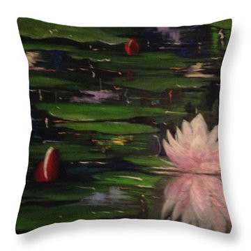 Throw Pillow featuring the painting Waterlilies - Original Sold by Therese Alcorn