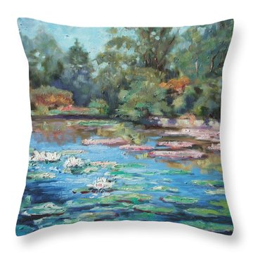 Waterlilies Pond In Tower Grove Park Throw Pillow