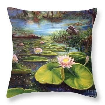 Throw Pillow featuring the painting Waterlilies by Renate Nadi Wesley