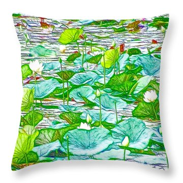 Waterlily Blossoms On The Protected Forest Lake Throw Pillow by Lanjee Chee