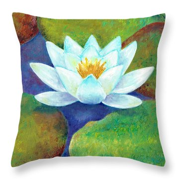 Throw Pillow featuring the painting Waterlily by Elizabeth Lock