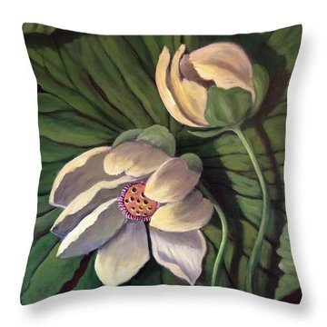 Waterlily Like A Clock Throw Pillow