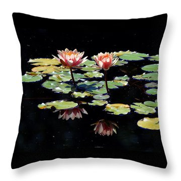 Throw Pillow featuring the painting Waterlily Panorama by Marilyn Smith