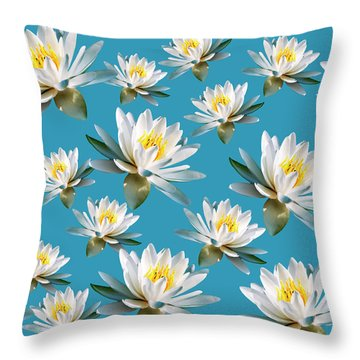 Throw Pillow featuring the mixed media Waterlily Pattern by Christina Rollo