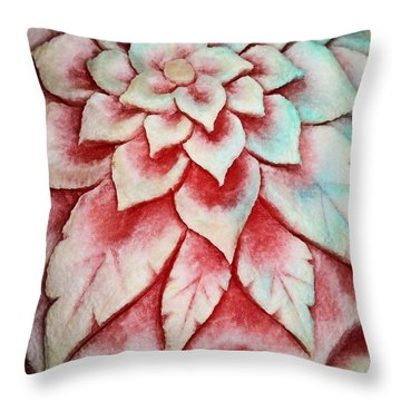 Watermelon Carving Throw Pillow by Kristin Elmquist