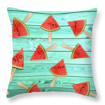 Watermelon Popsicles On Blue Throw Pillow