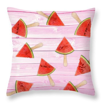 Watermelon Popsicles On Pink Throw Pillow