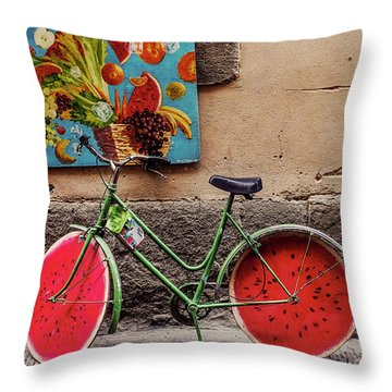 Watermelon Wheels Throw Pillow by Happy Home Artistry