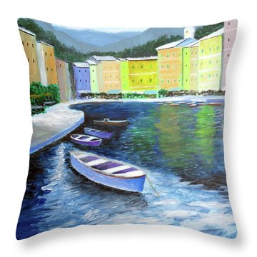 Waters Of Portofino  Throw Pillow