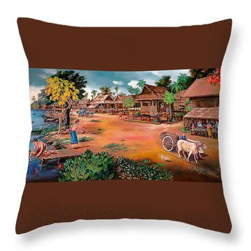 Waterside Town Community Throw Pillow