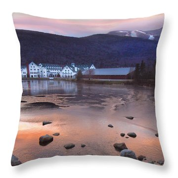 Waterville Valley Sunset Throw Pillow by Nancy Griswold