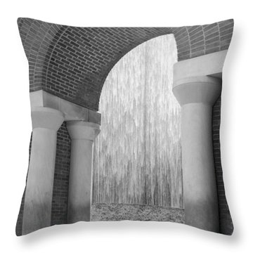 Waterwall And Arch 3 In Black And White Throw Pillow