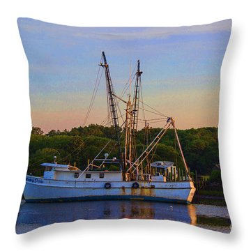 Old Shrimper Throw Pillow