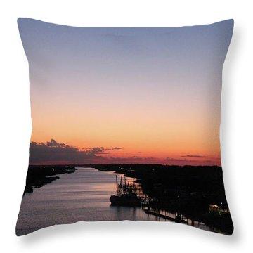 Waterway Sunset #1 Throw Pillow