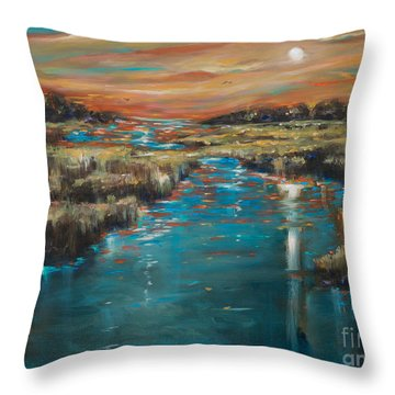 Waterway Sunset Throw Pillow by Linda Olsen