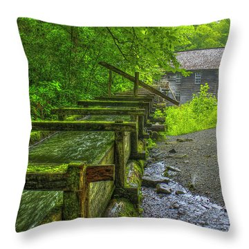 Throw Pillow featuring the photograph Waterworks Mingus Mill Mingus Creek Art  Great Smoky Mountains Art by Reid Callaway