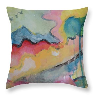 Throw Pillow featuring the digital art Watery Abstract by Susan Stone