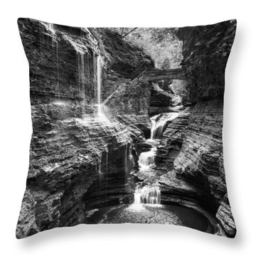 Watkins Glen 2015 02 Panorama Black And White Throw Pillow