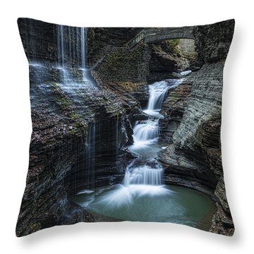 Watkins Glen Rainbow Falls Throw Pillow