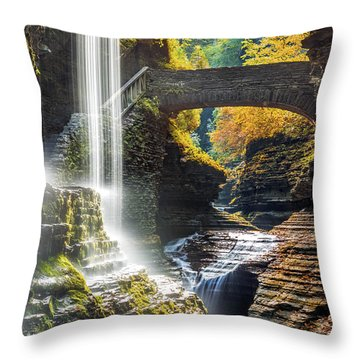 Throw Pillow featuring the photograph Watkins Glen State Park by Mihai Andritoiu