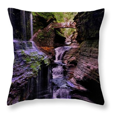 Watkins Glen State Park - Rainbow Falls 002 Throw Pillow by George Bostian