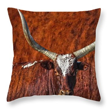 Watusi Blues In Rustic Red Throw Pillow