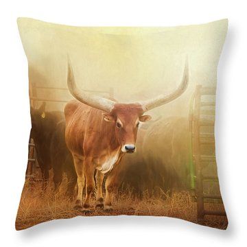 Watusi In The Dust And Golden Light Throw Pillow