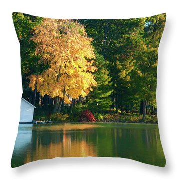 Waupaca Chain Boathouse Throw Pillow