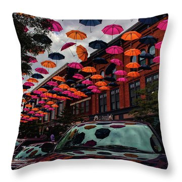 Wausau's Downtown Umbrellas Throw Pillow
