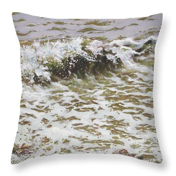 Throw Pillow featuring the painting Wave And Colorful Pebbles by Martin Davey