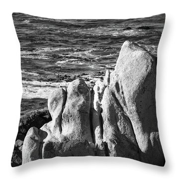Throw Pillow featuring the photograph Wave Blowing By The Stong Wind At Th Pacific Ocean Coast With Ro by Jingjits Photography