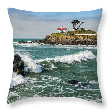 Wave Break And The Lighthouse Throw Pillow by Greg Nyquist