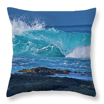 Wave Breaking On Lava Rock Throw Pillow