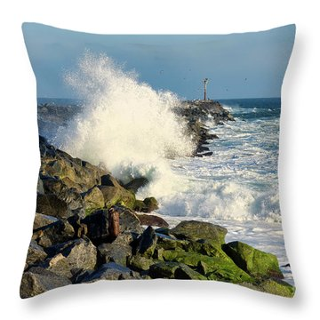 Wave Crash At The Wedge Throw Pillow