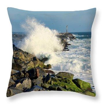 Wave Crash At The Wedge Throw Pillow