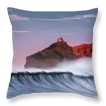 Wave In Bakio Throw Pillow