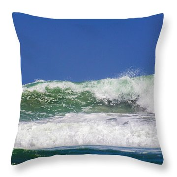 Wave Rolling To The Beach Throw Pillow