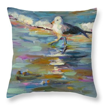 Throw Pillow featuring the painting Wave Runner by Chris Brandley