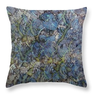 Throw Pillow featuring the painting Wave Shadows Ink #7 by Sarajane Helm