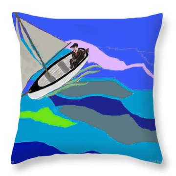 Wave Tossed Boat Throw Pillow by Fred Jinkins