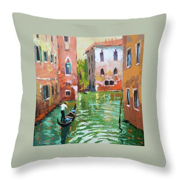 Wave Under The Oars Of The Gondola, City Scene. Throw Pillow