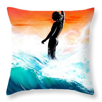 Wave Walk Throw Pillow
