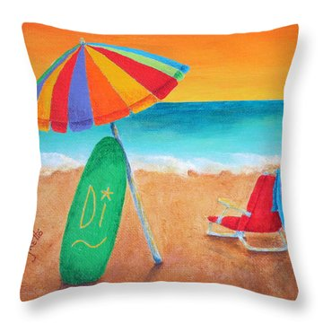 Wave Watch Throw Pillow by Pamela Allegretto