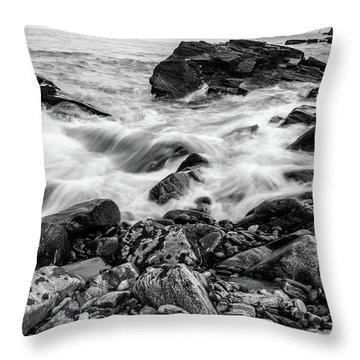 Waves Against A Rocky Shore In Bw Throw Pillow